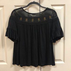 Lauren Conrad black sunflower blouse (S)